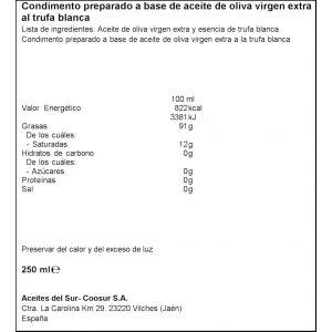Aceite oliva virgen extra con trufa la española 250ml