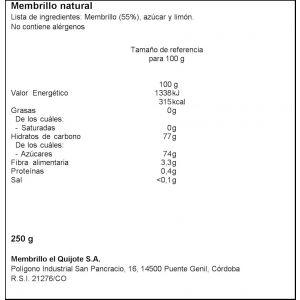 Carne de membrillo natural el quijote  250g