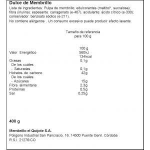 Dulce de membrillo bifidus el quijote 380g
