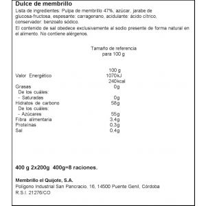 Dulce de membrillo el quijote tarrina 440g