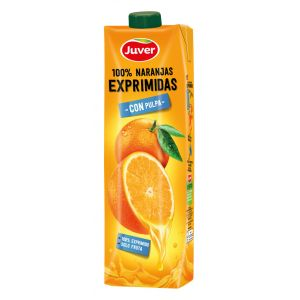 Zumo naranja 100% exprimido con pulpa juver prisma 1l
