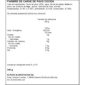 Pechuga pavo lonchas maxi el pozo pvp2 340gr