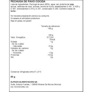 Pechuga de pavo braseada el pozo lonchas 85g 1 euros