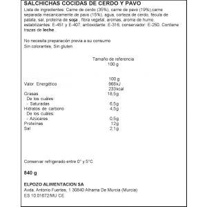 Salchichas frankfurt el pozo pack 6x140gr