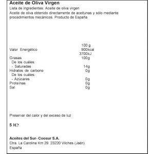 Aceite de oliva virgen serie oro coosur pet 5l
