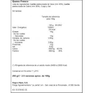 Queso fresco sin lactosa vega e hijos 250g