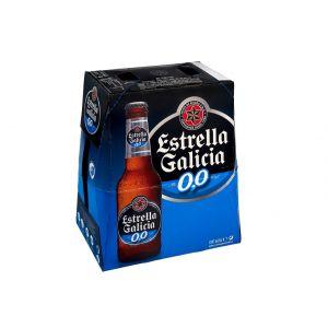Cerveza sin alcohol estrella galicia 0,0% botella pack de 6 unidades de 25cl