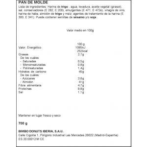 Pan molde sandwich familiar  bimbo  700g