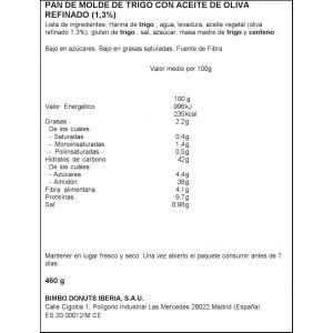 Pan molde s/corteza natural 100% bimbo 450gr