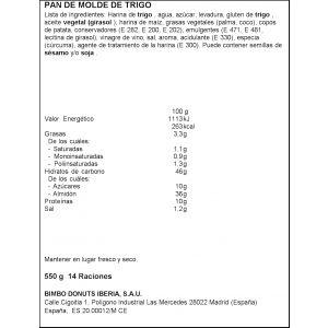 Pan de molde artesano brioche bimbo 550gr