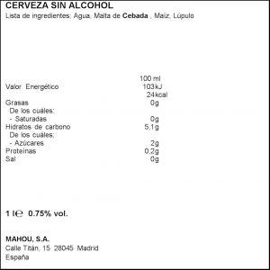 Cerveza sin alcohol 0,0% alhambra botella 1l