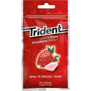 Chicles sin azucar fresa trident bolsa 30 grageas