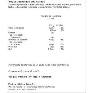 Yogur griego 0%0% natural reina p-4x 115g