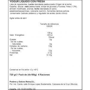 Yogur liquido fresa reina p-4x 180gr