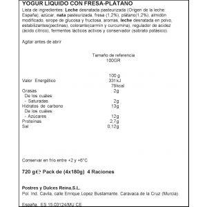 Yogur liquido fresa-platano reina p-4x 180gr