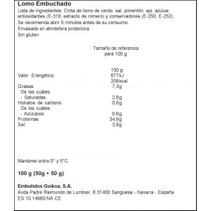 Lomo embuchado goikoa bipack 2x50gr