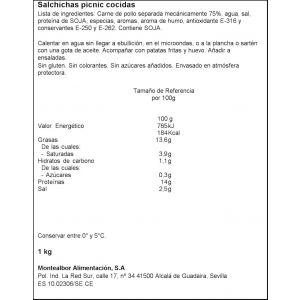 Salchichas picnic montealbor bandeja 350g