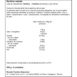 Sardina salada ricardo fuentes 4 unidades 250g