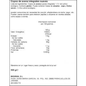 Copos de avena integral suaves ecocesta 500g