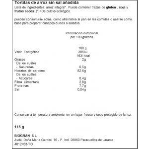 Tortitas de arroz sin sal bio ecocesta 115g