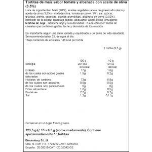 Tortitas de maiz con tomate y aceite de oliva bicentury 123g