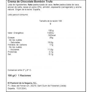 Crema chocolate trufa pastoret 100gr