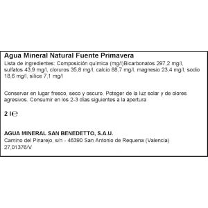 Agua mineral  fuente primavera pet 2l