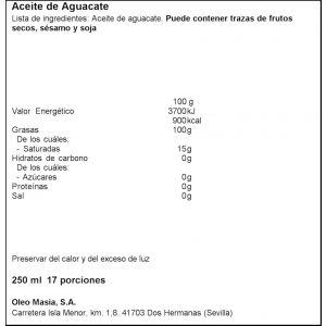 Aceite de aguacate   la masia  250ml