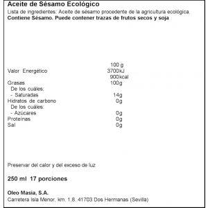 aceite de sesamo ecológico la masia 250ml