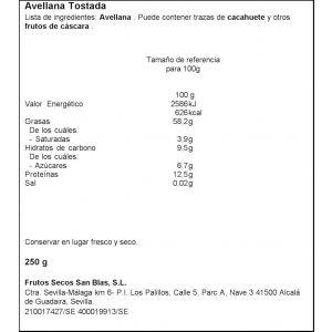Avellanas tostadas san blas 200g