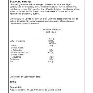 Bizcocho s/azucar s/lactosa naranja laly 500g