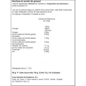 Anchoa del cantabrico casa santoña 12/14 lomos 60g
