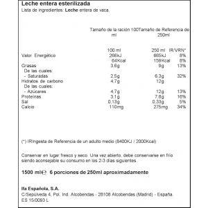 Leche entera ifa eliges botella 1,5l