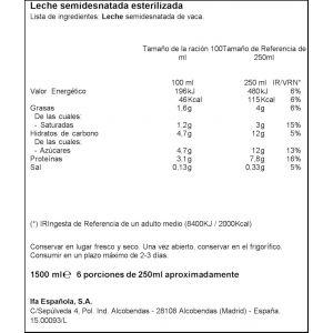 Leche semidesnatada ifa eliges botella 1,5l