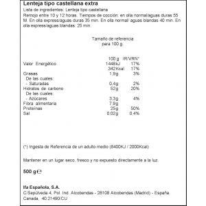 Lenteja castellana ifa eliges 500 gr