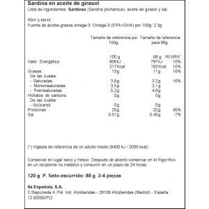 Sardina aceite de  girasol ifa eliges rr125 88g ne