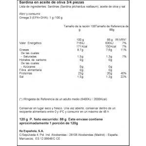 Sardina  aceite de oliva ifa eliges rr125 88g ne