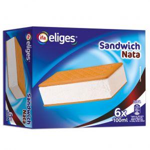 Helado sandwich de nata ifa eliges p6x100ml