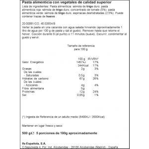 Pasta macarron vegetal ifa eliges 500g