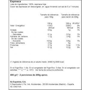 Espinacas hoja porciones ifa eliges  400g