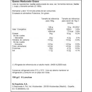 Queso cheddar ifa eliges lonchas 150g