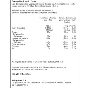 Quesogouda sin lactosa ifa eliges lonchas 150g