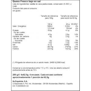 Queso burgos bajo en sal ifa eliges 4x62,5gr