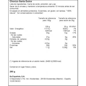 Chorizo sarta dulce ifa eliges 280g