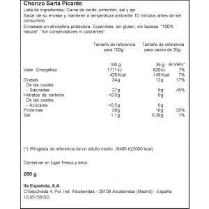 Chorizo sarta picante ifa eliges 280g