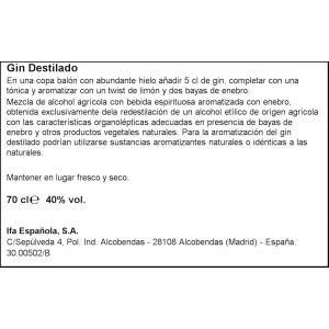 Ginebra distilled black elephant 70cl