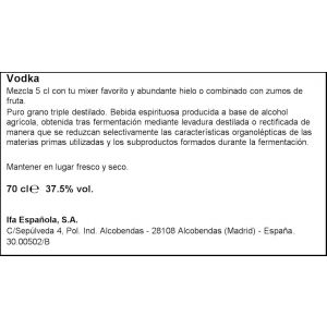 Vodka pure gran solvrev botella de 70cl