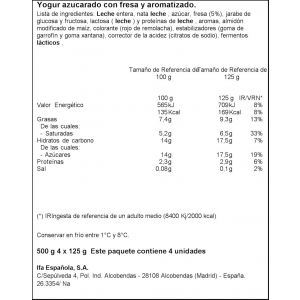 Yogur griego fresa ifa eliges p-4x125g