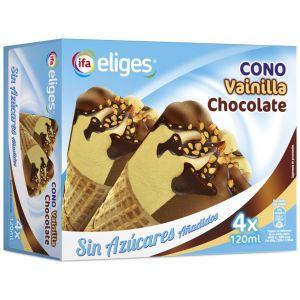 Helado cono sin azucar vainilla/chocolate ifa eliges  p4x120ml