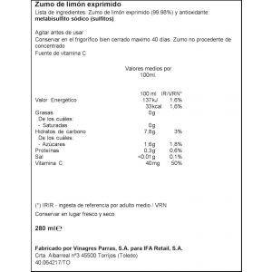 Zumo limon exprimido ifa eliges 280ml